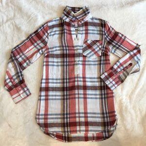 Plaid Flannel Long Sleeve Shirt - Tunic Style